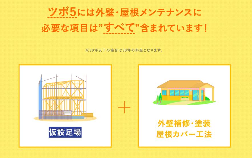 ツボ5は屋根修理と外壁塗装をセットで施工
